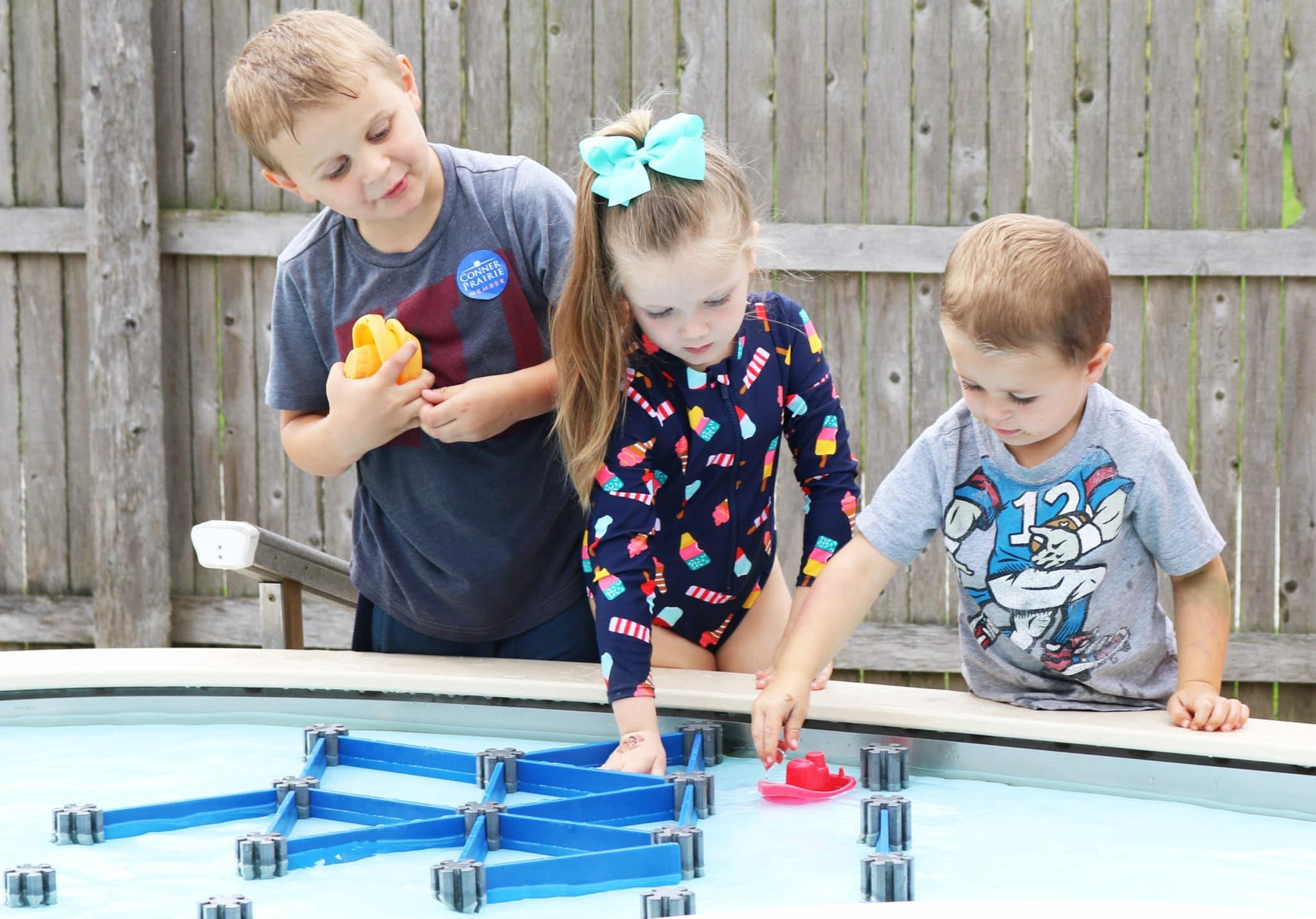 Kids exploring splash park