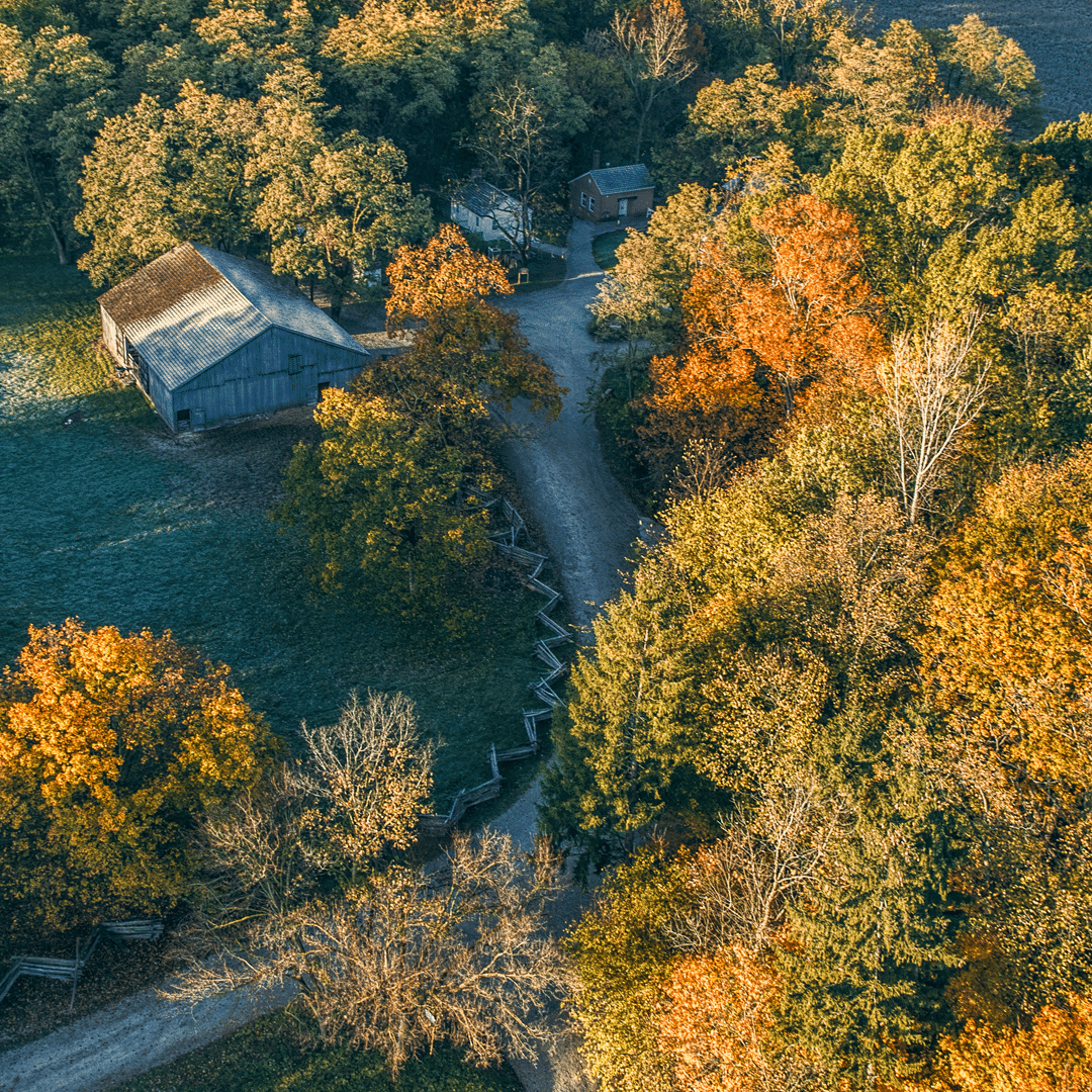 Photo of Conner Prairie from the air in fall