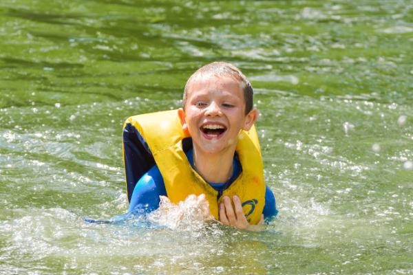 Camper swimming