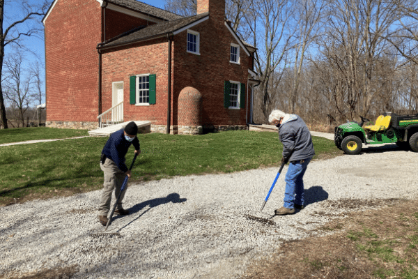 The McCune brothers helping maintain the grounds