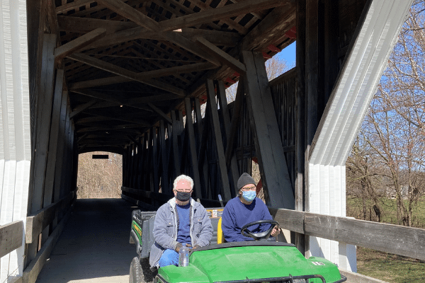 McCune brothers on the covered bridge