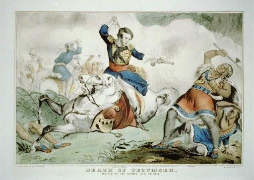 An 1846 drawing depicting Richard Johnson killing Tecumseh