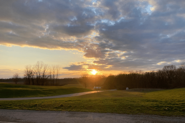 Sunset over the Conner Prairie grounds