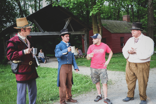 Guests interacting with Conner Prairie interpreters at History on Tap