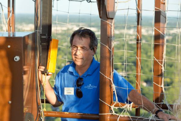 Chris Greiling flying the balloon