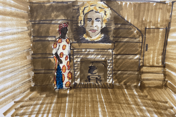 Exhibit rendering of woman in traditional African dress next to a fireplace