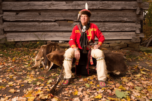 Interpreter Dressed In Traditional Lenape Clothing