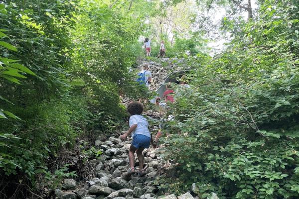 Preschool Students Exploring Conner Prairie Grounds