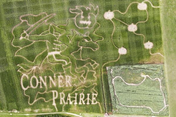 Aerial View Of Conner Prairie 2021 Corn Maze Design
