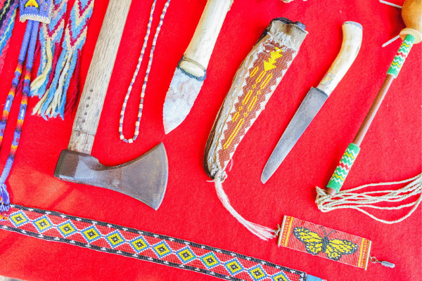 Lenape Artifacts Including Beadwork And Axe