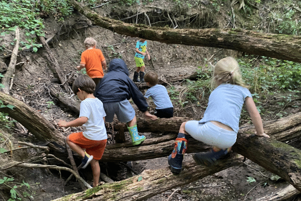Preschool On The Prairie Students Exploring The Nature Trails