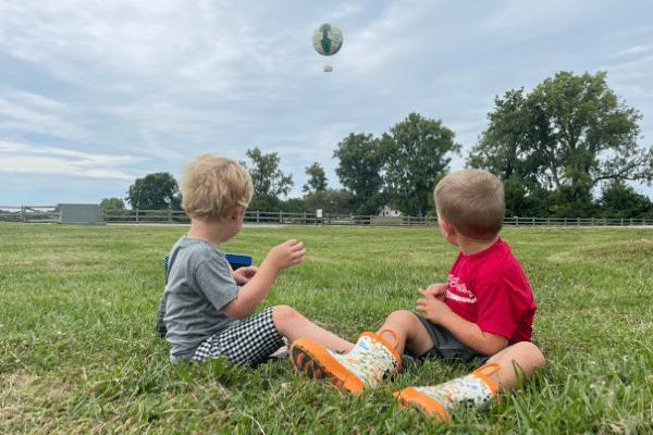 Preschool Students Watching The 1859 Balloon Voyage In Flight