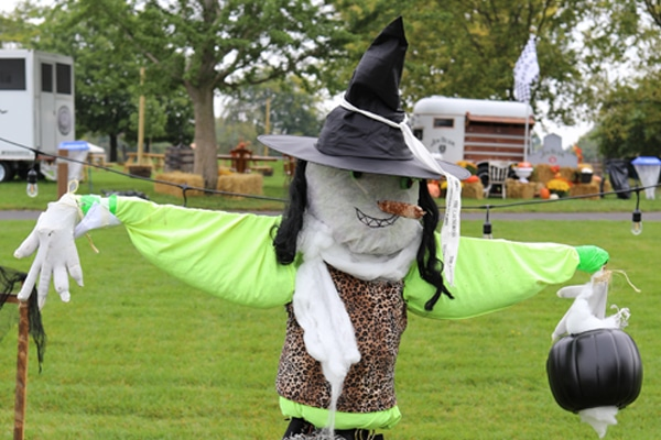 Scarecrow with a witch hat