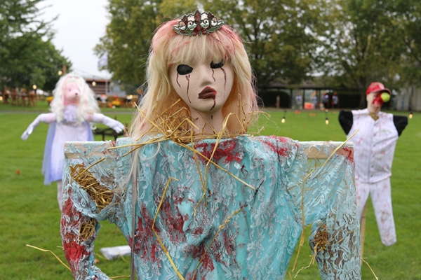 Scarecrow dresses as dead prom queen