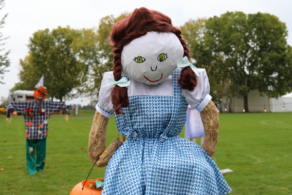Scarecrow dressed as Dorothy from Wizard of Oz