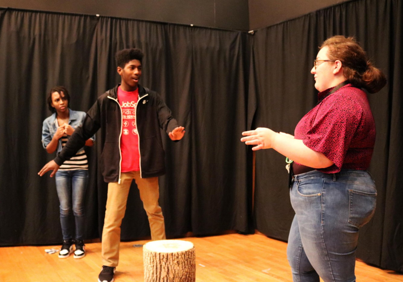 Actors rehearsing the play